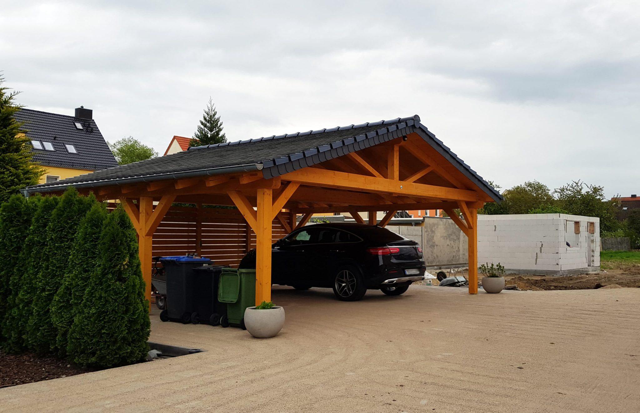 carport voiture bois